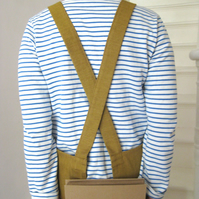 Pull-on, cross back, work apron. No ties! For artists & makers. No 4:3 Ochre