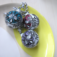Decoupage Baubles - set of three