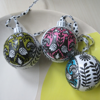 Decoupage Baubles - set of 3