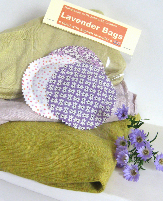 English Lavender Bags, Pretty Lilac Purple Cream Prints, Set of 3