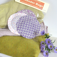 English Lavender Bags, Lilac Purple Cream Prints, Set of 3