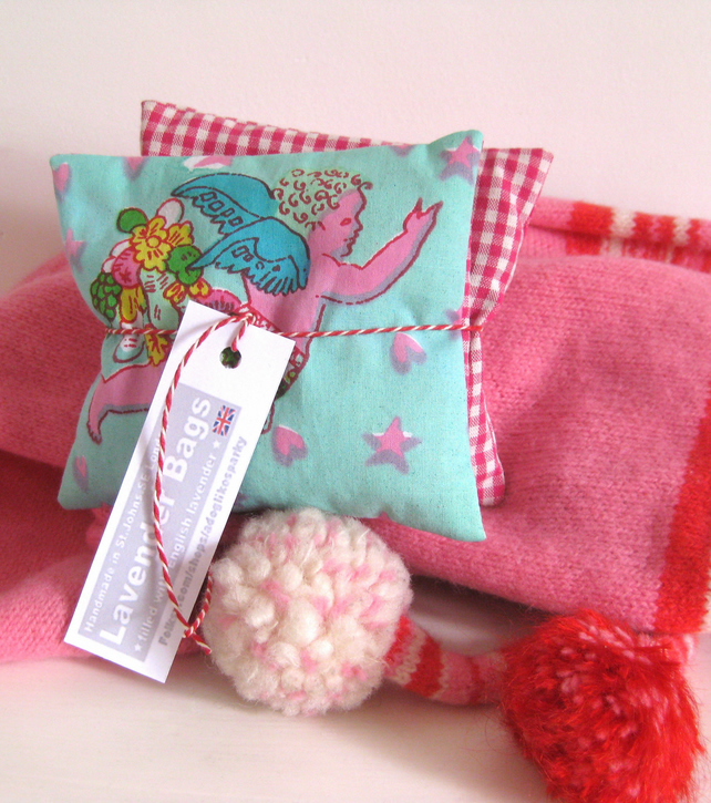 English Lavender Bags, Distinctive Cupid Print & Gingham, set of 2