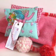 English Lavender Bags, Vintage Oilily Cupid Print & Gingham, set of 2