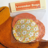 English Lavender Bags, Orange & Yellow Vintage Style Prints, Set of 3