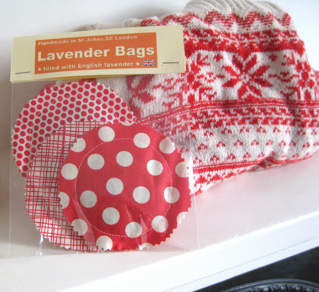 English Lavender Bags, Festive Dotty Red & White Prints, Set of 3