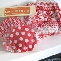 English Lavender bags - Red print selection - Set of 3 round pouches
