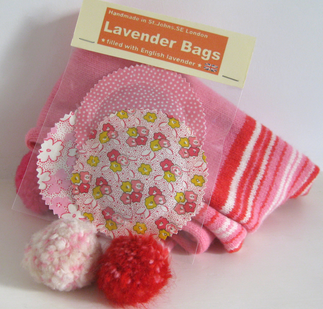 English Lavender Bags, Pretty Pink Floral & Dotty Prints, Set of 3