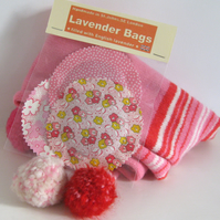 English Lavender Bags, Pink Floral & Dotty Prints, Set of 3