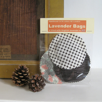 English Lavender bags - Brown cream print selection - Set of 3 round pouches