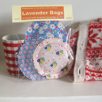 English Lavender Bags, Blue Vintage-Stye Floral and Dotty Prints, Set of 3