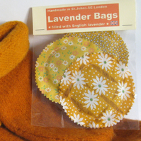 English Lavender Bags, Yellow Vintage-style Prints Set of 3
