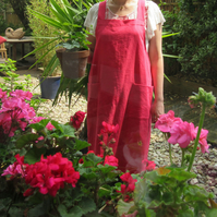 Vivid Orangey-Pink, Linen-Cotton Crossover back Apron. No ties!. No 4:4