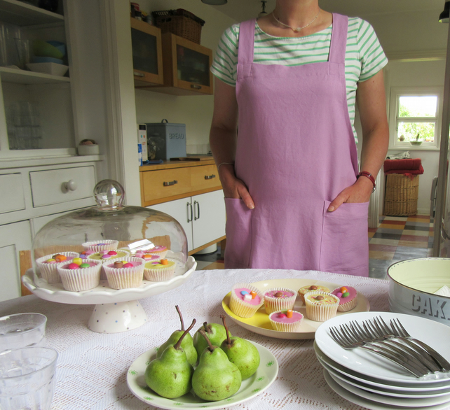 Cross Back Apron Linen Cotton. Japanese Style No Ties Apron. Rose-Lilac. No4:4