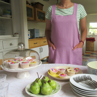 Rose lilac, Linen-Cotton Crossover back Apron. No ties!. No 4:4