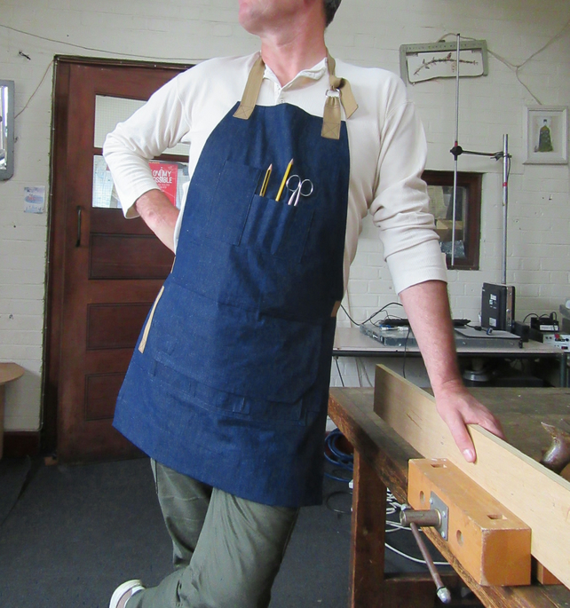 Denim Woodworkers Apron, 15 Pockets and Magnetic Pocket Flap. Blue. No10