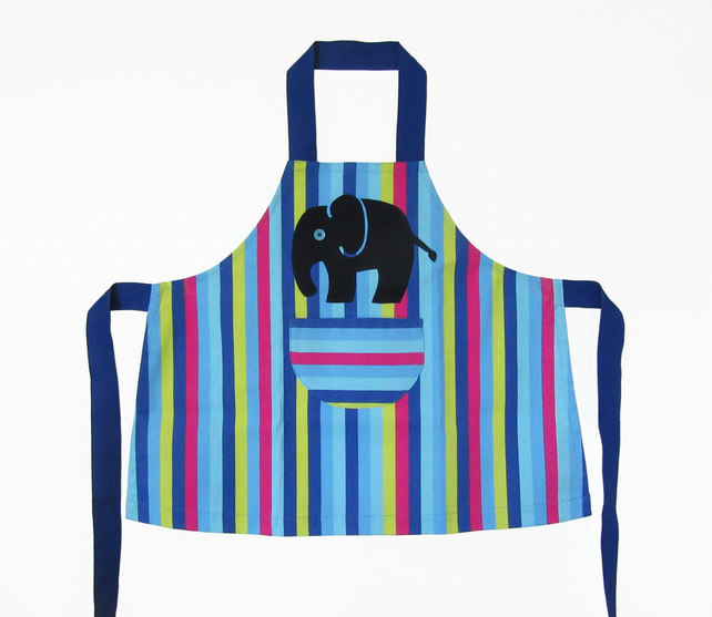 Boys Apron, Jolly Stripey, Hand Appliquéd Blue Elephant 3-4yrs