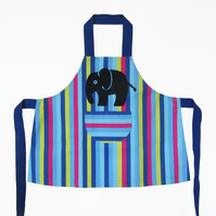 Childs Boys Apron, Jolly Stripey, Hand Appliquéd Blue Elephant 3-4yrs