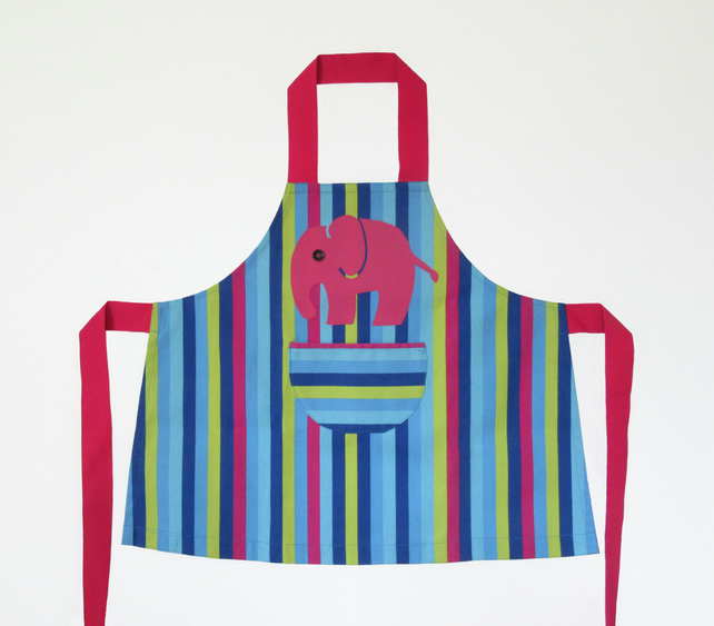 Girls Apron, Hand Appliquéd Pink Elephant. Multi Stripe 3-4yrs