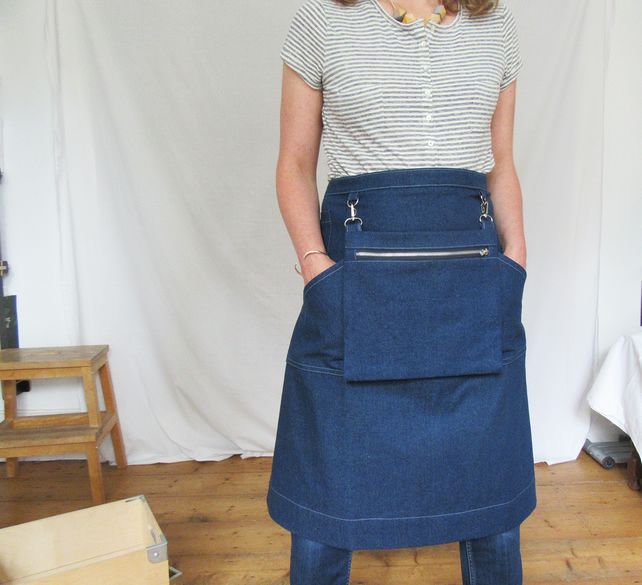 Makers Market Denim Apron with Cash Bag, for Artists Makers Craft Fairs. No12