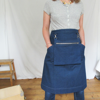 Makers Market Apron with Cash Bag, for Artists Makers Craft Fairs, Denim. No12
