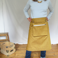 Craft Sellers Half Apron With Cash Bag, Traders Money Apron, Ochre Denim No12