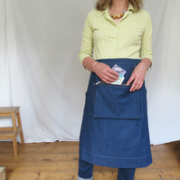 Makers Market Apron, Cash Bag for Artists Makers Craft Fairs, Denim. SAMPLE SALE