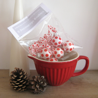 Christmas decorations, Spotty Red and White Decoupage Baubles, Hand Decorated