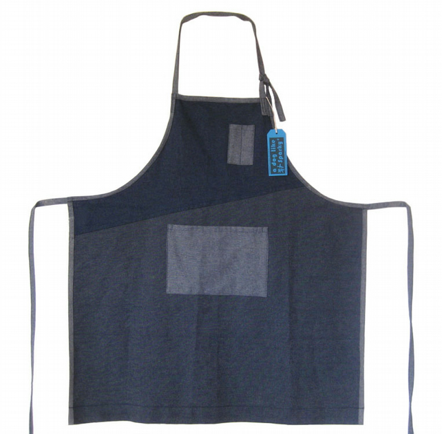 Denim Mens Womens Apron, Adjustable Size. For Artists and Makers. No6.