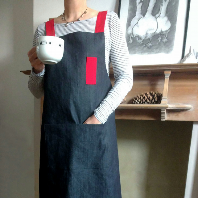 Womens Charcoal Denim Cross Back Apron, Red Straps. For Artists & Makers. No4.3