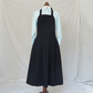 Elegant Pleated Pinafore Apron with Big Pockets. Navy No14