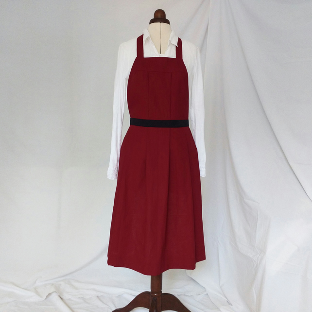 Linen Pinafore Apron, Pleated Bib Apron, Pockets, Festive Dark Red No14 Sample