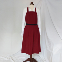 SAMPLE Dark Red Linen Pleated Pinafore Apron - large concealed pockets  No14