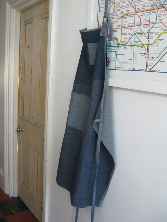 Mens Denim Apron, Contemporary Boro, Rustic, Adjustable, One-Of-A-Kind. No6:1