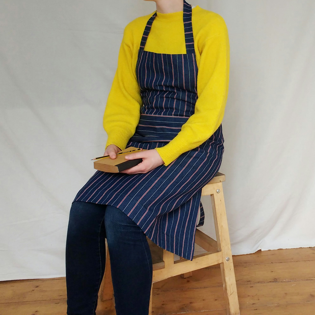 Woven Stripe Denim Work Apron, Womens Artist Craft Apron Small-Large No 5.