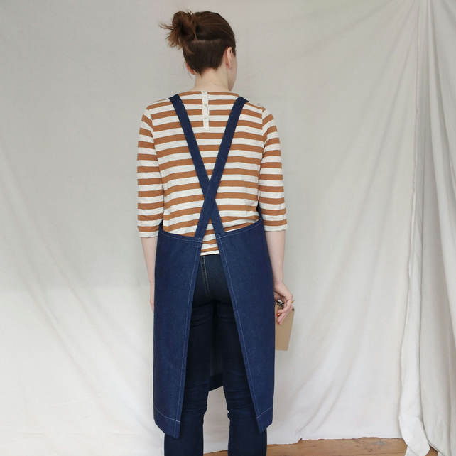 Blue Denim Crossback Apron, Handmade For Artists & Makers Womens Apron No4:2