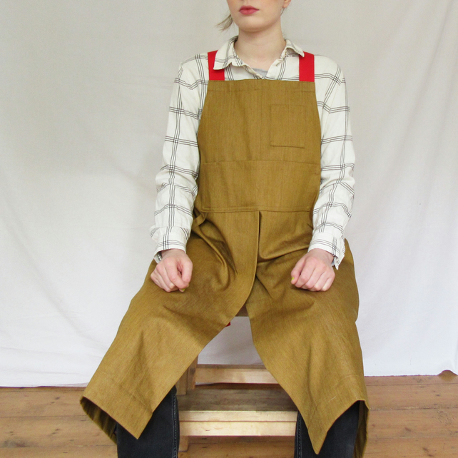 Heavyweight Crossback Potters Apron - golden denim, split leg, adjustable  No7:2