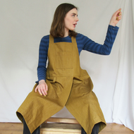 Golden Denim Crossback Apron, Pottery Apron, Split Skirt, Craft Apron No4:5