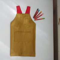 Mini-Makers Apron, Childs Denim Crossback Apron, Adjustable Size. Age 3-6y