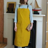 Crossback Canvas Apron, Adjustable Mens Womens, Mustard 'Kite' No22