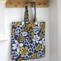 Extra Large Beach Bag, Blue Hawaiian Print Quick Dry Fabric. One of a kind.