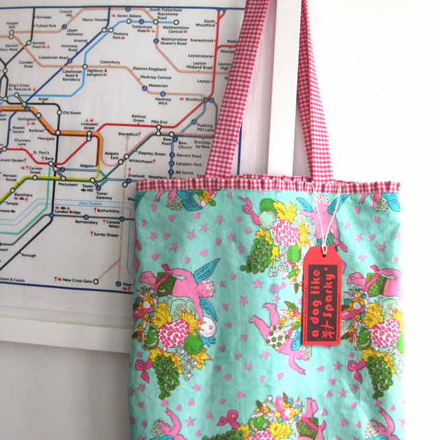 Large Summer Bag, Colourful 'Cherub' Vintage Print Cotton, Frilly Gingham