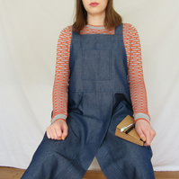 Potters Apron, Water Repellent, Japanese Crossback Apron, Split Skirt Blue No4:5