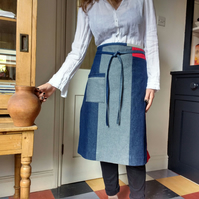 Denim Patchwork Half Apron, Eco Boro Style Apron, One Of A Kind. No16:2
