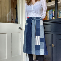 Japanese Boro Style Denim Apron, Eco Patchwork Waist Apron, One Of A Kind No16:3