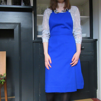 Womens Blue Cotton Canvas Apron, Retro 40's Style, No19:3