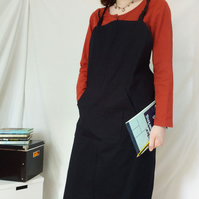 Black Canvas Crossback Apron, Adjustable Mens Womens Unisex Apron 'Kite' No 22