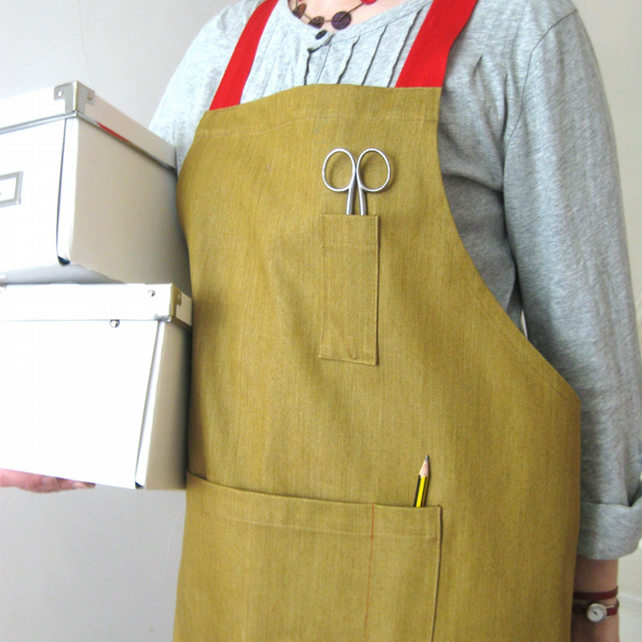 Adjustable Crossback Apron For Artists & Makers - ochre denim, red straps No7