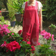 Linen Apron, Japanese Style - cross back apron, no ties. Red Coral No 4:4