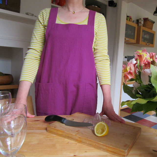 Linen Apron Japanese Style Cross Back Style - no ties apron. Magenta No4:4