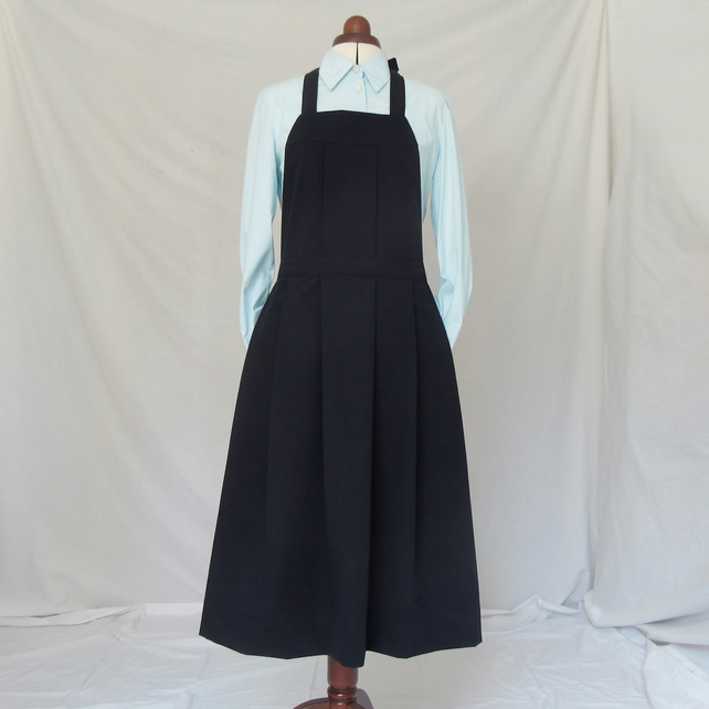 Pleated Pinafore Apron, concealed deep pockets. Navy.No14 Sample